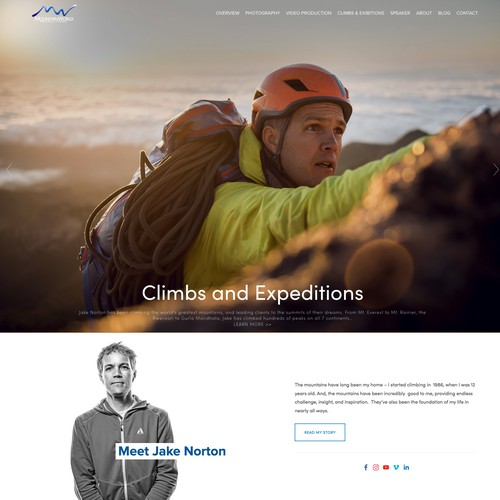Climbing design with the title 'Jake Norton - Mountain World Production'