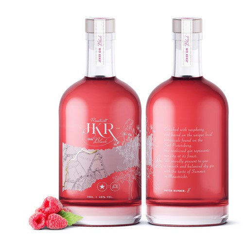 Raspberry design with the title 'JKR Gin'