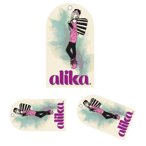 Hangtag design with the title 'Alika Hang Tag Design'