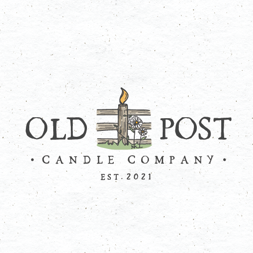 Farmhouse design with the title 'old post candle co.'