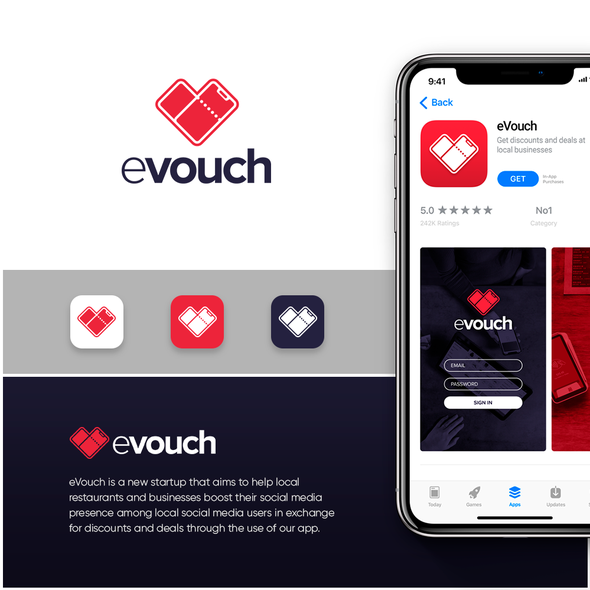 Voucher logo with the title 'eVouch Logo Concept'