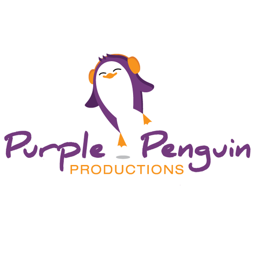 Purple and black design with the title 'Purple Penguin logo'