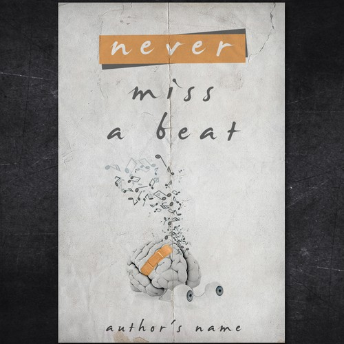 Music design with the title 'Never Miss a Beat'