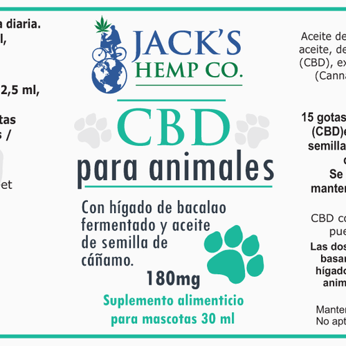 Animal label with the title 'Label design for pet Hemp CBD product'