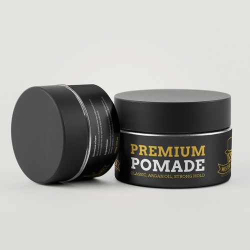 Hair label with the title 'Mens hair pomade'