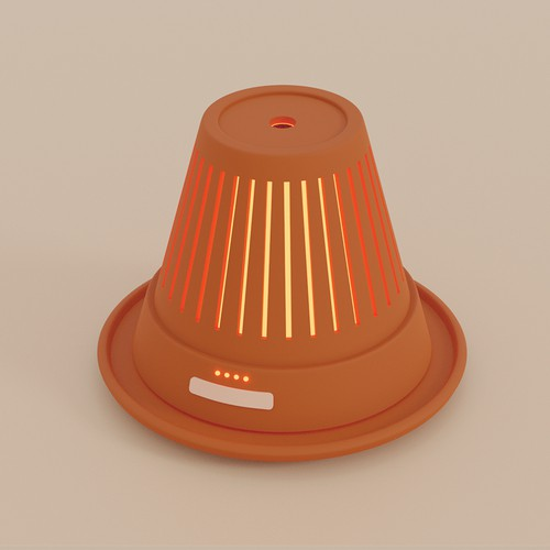LED design with the title 'Clay pot oil diffuser'