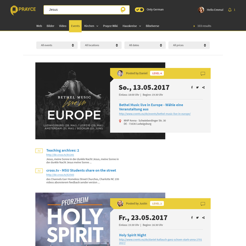 Event website with the title 'Events page for Prayce'