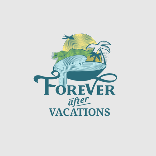Waterfall logo with the title 'Vintage logo concept for honeymoon travel agency'