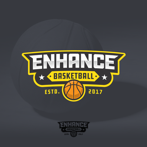 Energetic logo with the title 'Bold logo for Enhance Basketball'