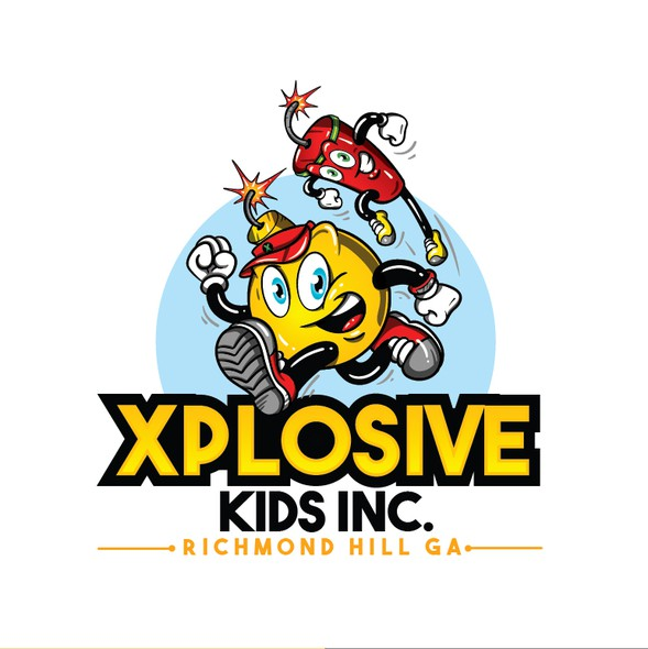 Fun logo with the title 'Xplosive Kids Logo and Mascot'