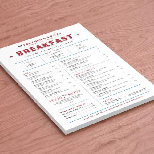 Breakfast design with the title 'Breakfast Menu Design'
