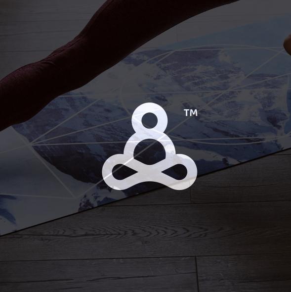 Yoga mat design with the title 'Fun Yoga Logo for Men'