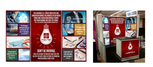 Advertising design with the title 'Guaranteed Prize: Help us design our trade show booth'