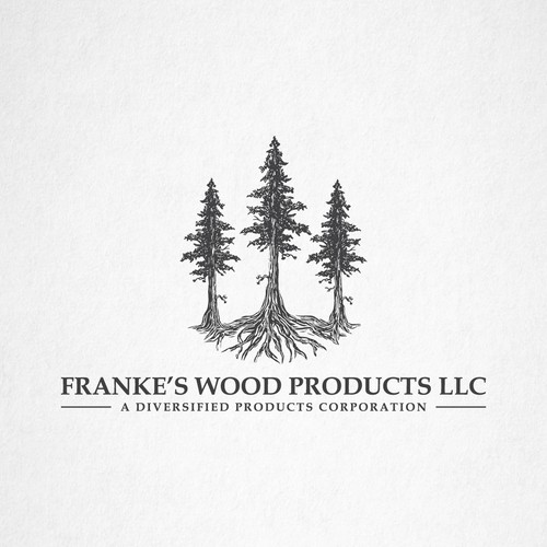 Tree root logo with the title 'Franke's wood products LLC'