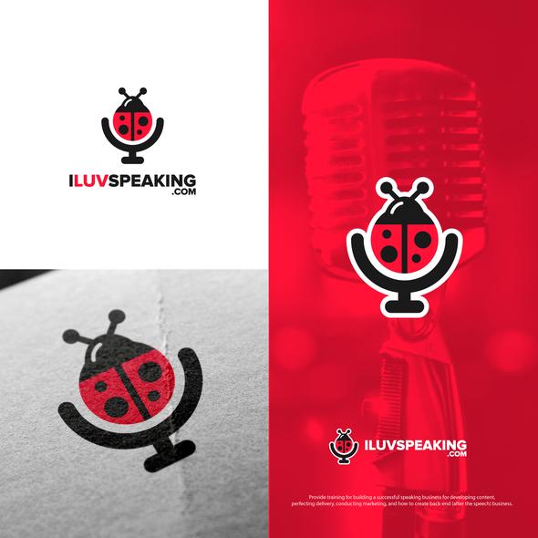 Ladybug logo with the title 'Bold logo for I Luv Speaking'