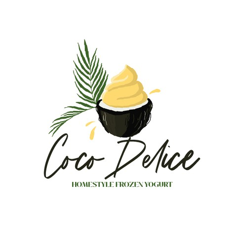 Tropical leaf logo with the title 'Coco yoghurt'