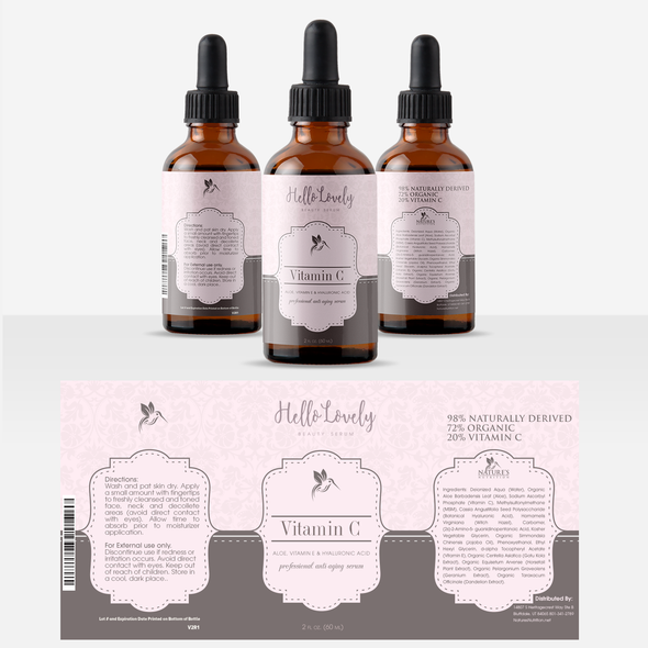 Dropper bottle label with the title 'Vitamin C drops'