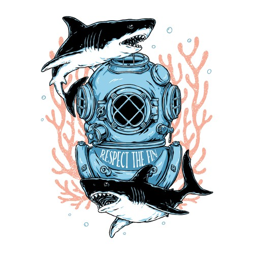 Summer t-shirt with the title 'The Diver'
