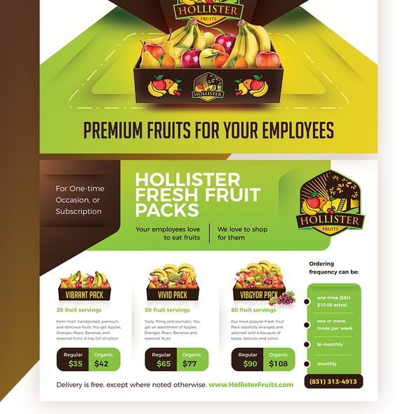 Photoshop design with the title 'Fruits Delivery Service Postcard / Flyer'