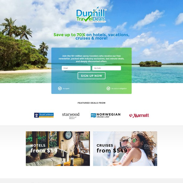Cruise design with the title 'Landing page for a travel deal website.'