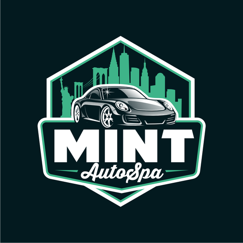 Car logo with the title 'Mint Auto Spa'