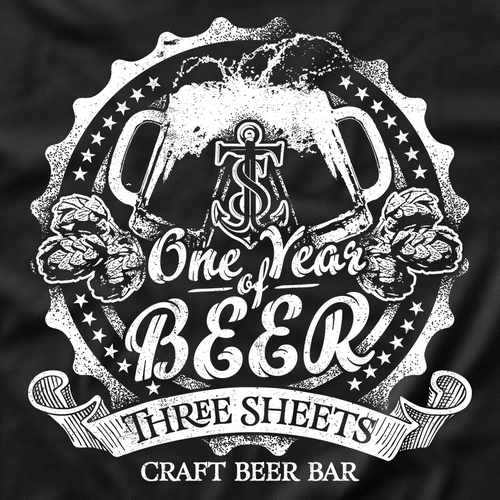 Classic t-shirt with the title 'One Year of Craft Beer Three Sheets T-Shirt'
