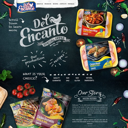 Food website with the title 'Web page design'