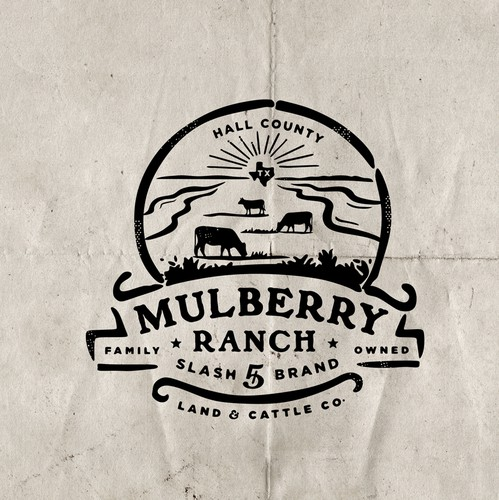 Vintage modern logo with the title 'Mulbery Ranch'