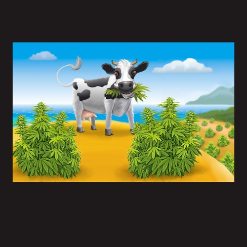 Sunny design with the title 'Cow mascot'