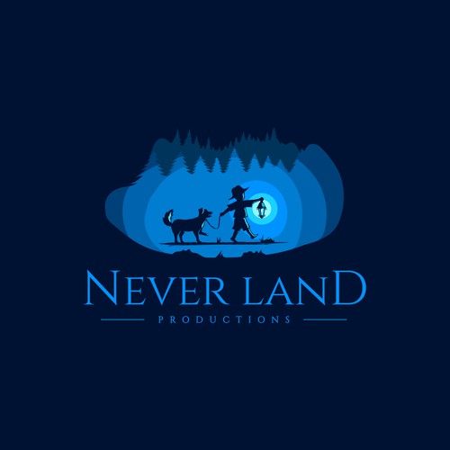 Production house logo with the title 'Never Land Productions'