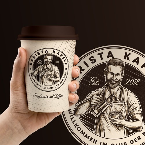 Classy logo with the title 'Custom logo work for Barista Kaffee'