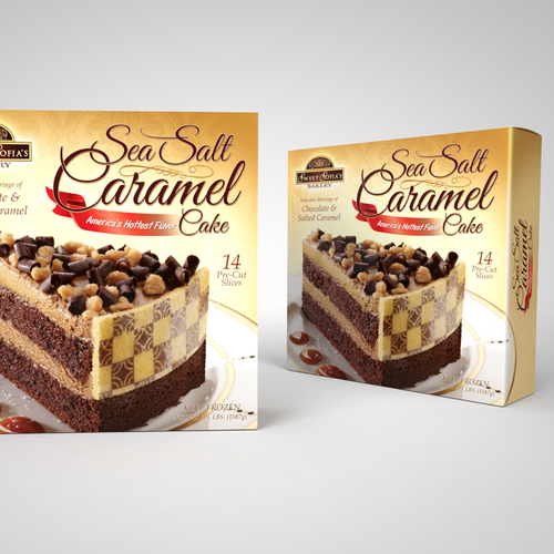 Bakery packaging with the title 'Sea Salt Caramel Cake package design'