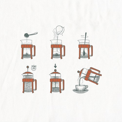 Vintage illustration with the title 'Making French pressed coffee illustration for In 2 The Nest'