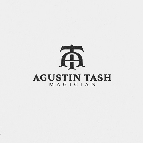 Magic wand logo with the title 'Agustin Tash - Magician'