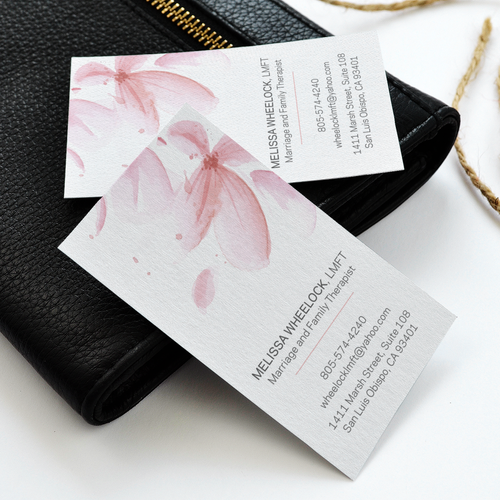 Calm design with the title 'Business Card for Family Therapist'