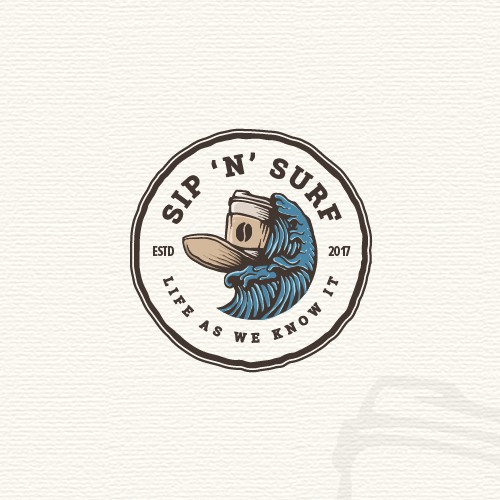 Surfing logo with the title 'Vintage badge logo'