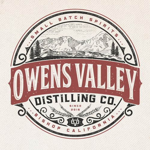 Distillery design with the title 'Logo Design for Owens Valley Distilling Co'