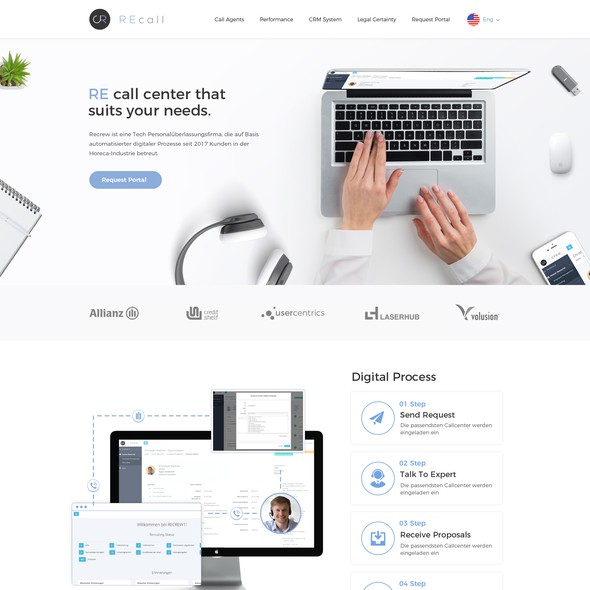 Call center design with the title 'Landing Page design for Call Center tech company'