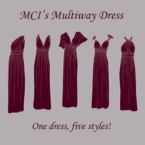 Dress illustration with the title 'Hand-drawn multiway dress'