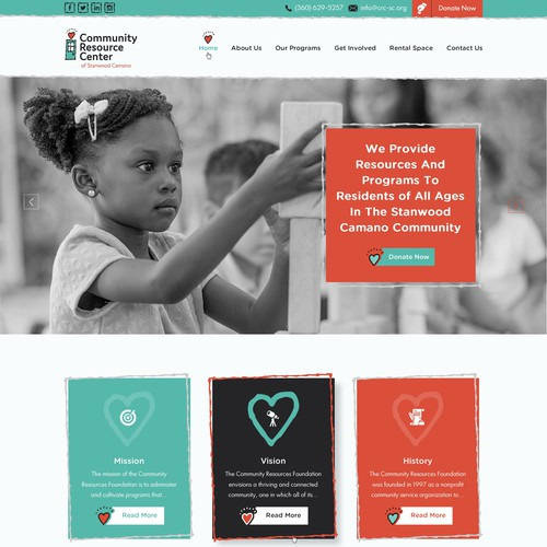Elegant website with the title 'Appealing and modern website for Community Resource Center'