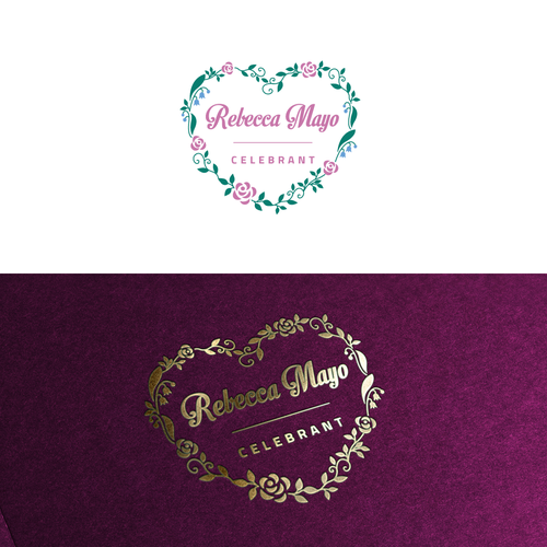 Flower heart logo with the title 'Rebecca Mayo Celebrant'