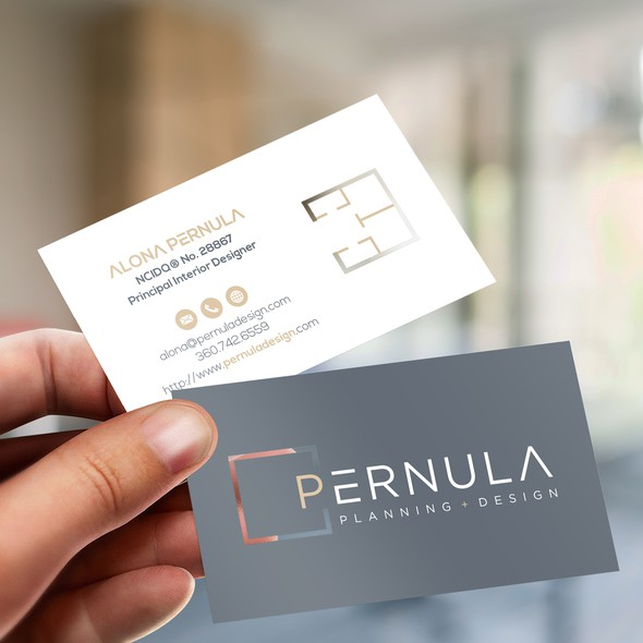 Name card design with the title 'Business card with die cut style'