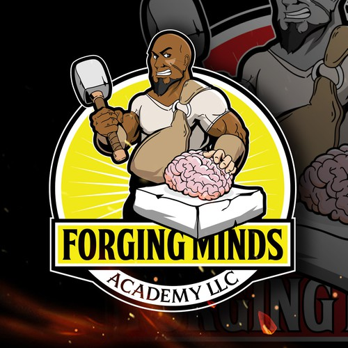 Academy logo with the title 'black bald man character illustration design'