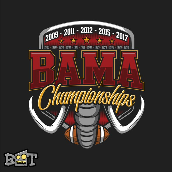 Football design with the title 'Bama Championship!'
