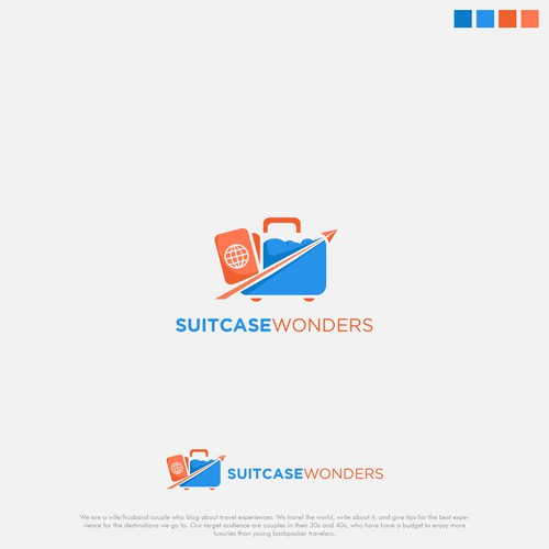 Trunk logo with the title 'fun logo for suitcase wonder'