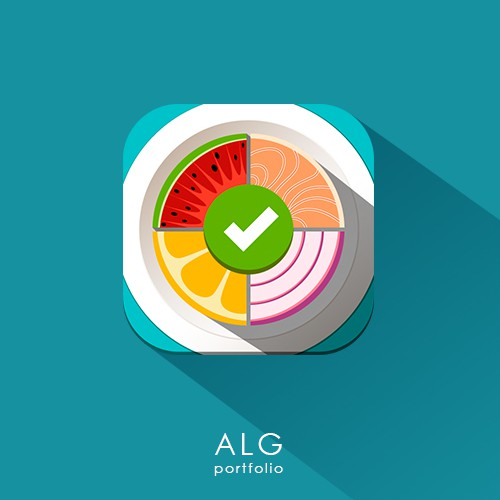 Watermelon design with the title 'Icon for Diet App'