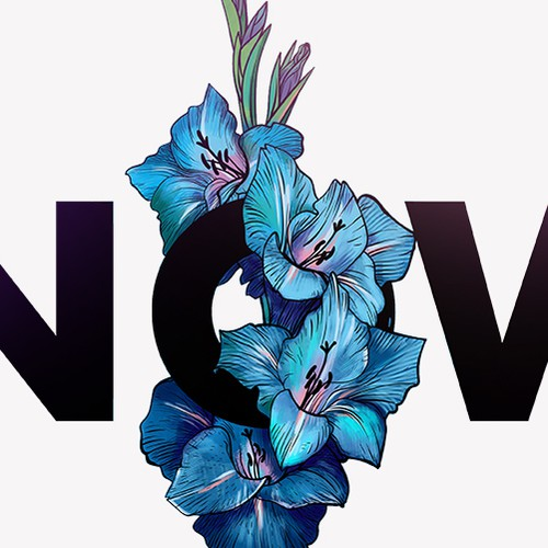 Floral design with the title 'Now'
