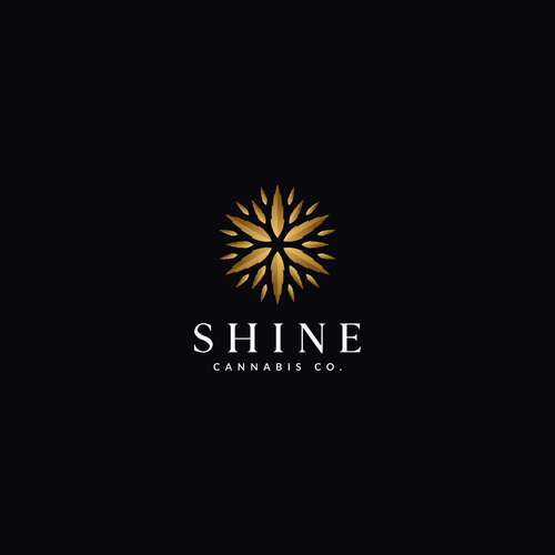 Symmetrical logo with the title 'Shine Cannabis Co.'