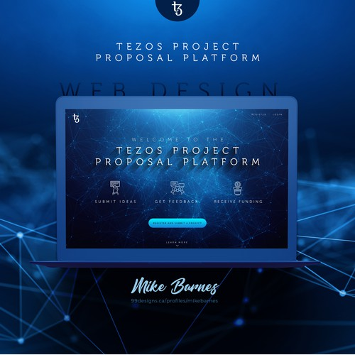 Bitcoin design with the title 'Tezos Project Proposal Platform'