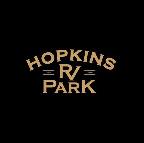 RV design with the title 'Hopkins RV Park'